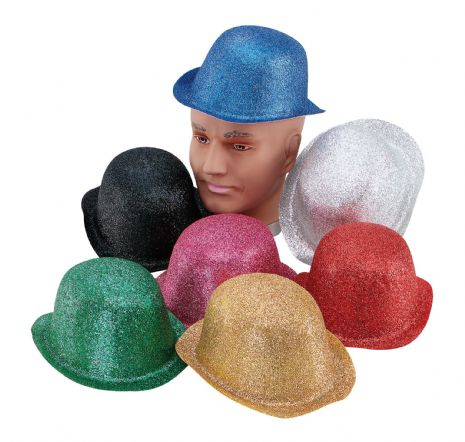 Glitter Plastic Bowler Hat Laurel hardy Victorian Cosmetic Artist